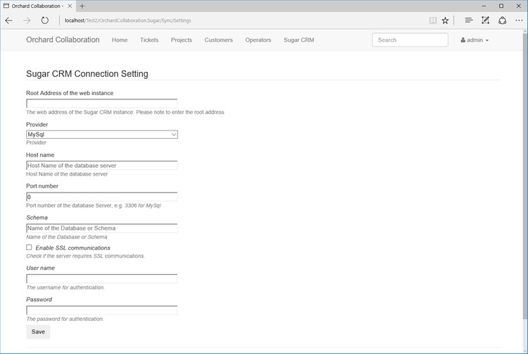 SugarCRM Connection Setting page