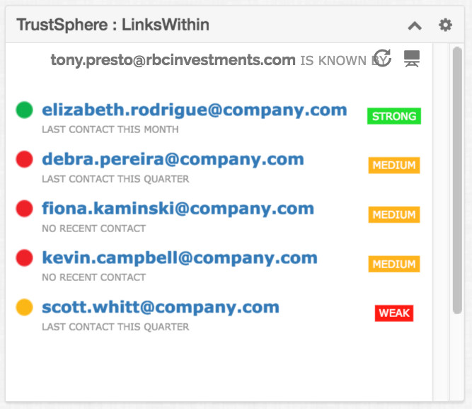 Switch to a tabular view of LinksWithin easily