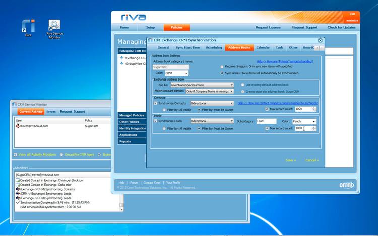Riva sync settings - address books tab