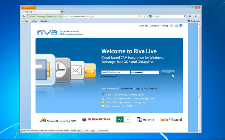 Riva for SugarCRM welcome screen