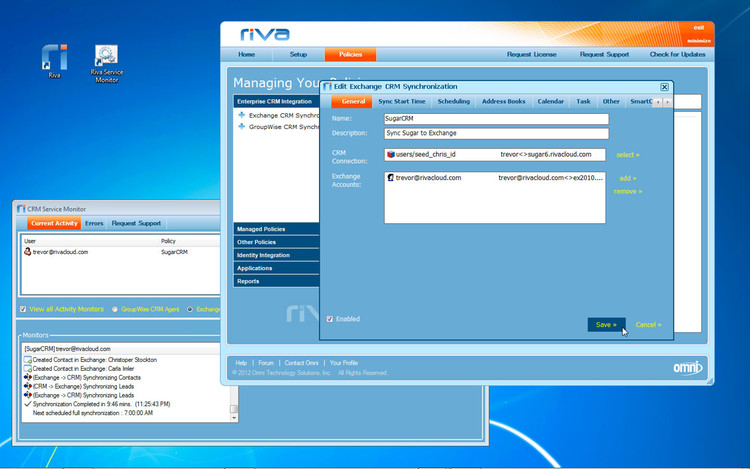 Riva sync settings - general tab