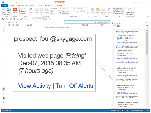 View Activity Data in Outlook