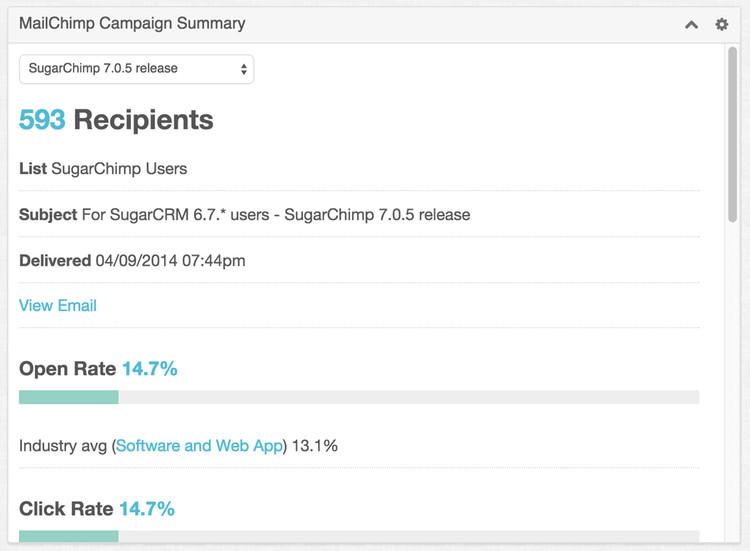 MailChimp Campaign Summary Dashlet