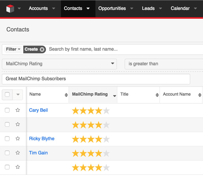 Search Lists by MailChimp Lead Score