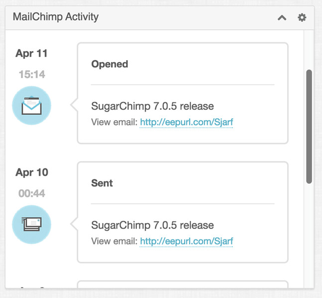 MailChimp Activity Dashlet