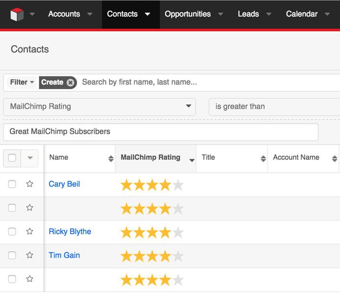 Search Lists by MailChimp Lead Score