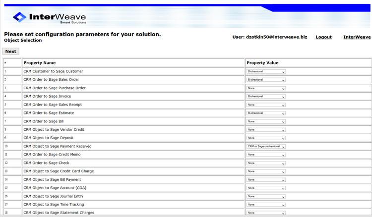 SugarCRM_Sage 50 Object Configuration Page