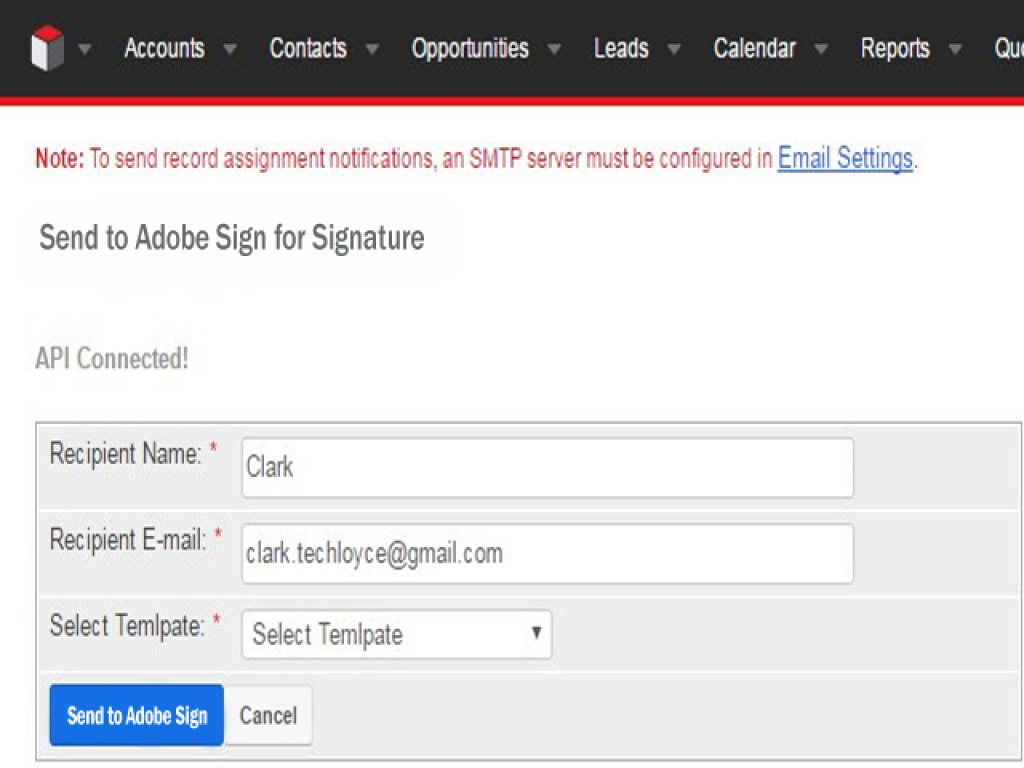 Select a pre-saved PDF template from your CRM and send it to your selected contact, account or lead.