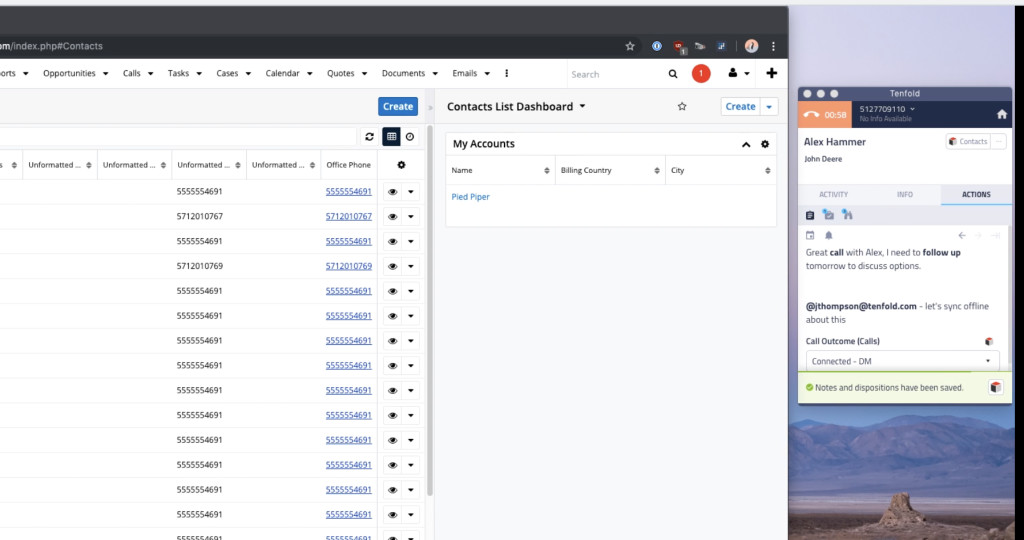 Easily Capture Notes, Next Steps and Call Dispositions linked back to SugarCRM