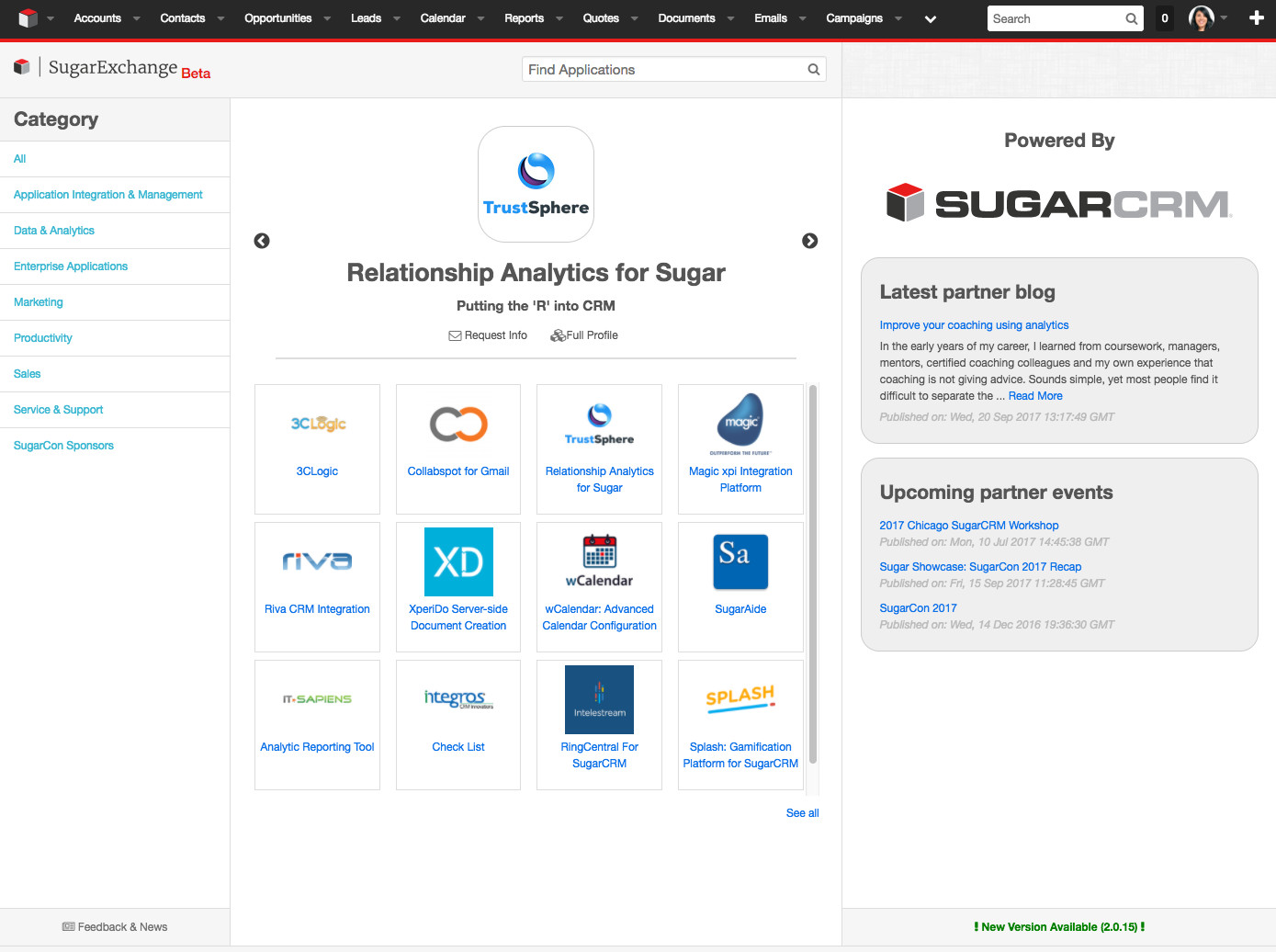 Browse SugarExchange listings within Sugar!