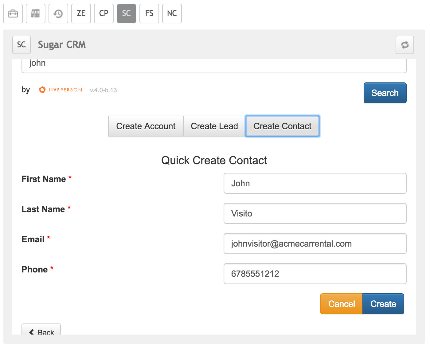 Create Contact from Widget
