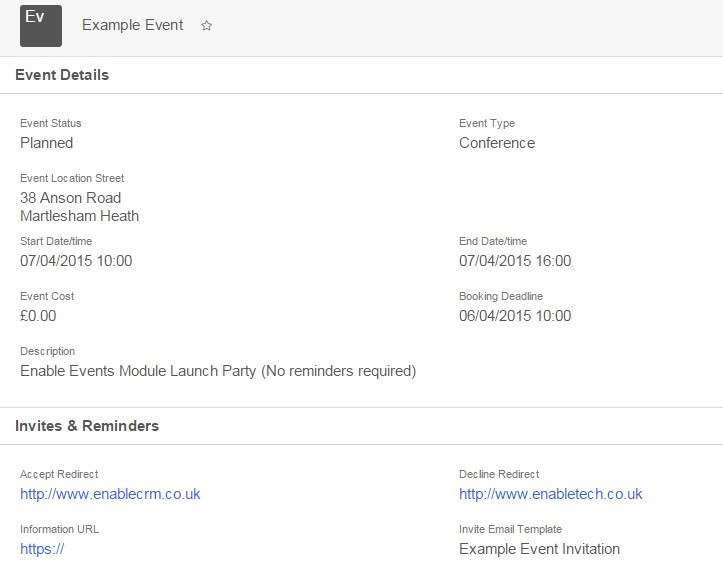 EnableEvents is a SugarCRM customisation developed by Enable Technologies which allows you to manage events and bookings in Sugar. Custom invitations and reminders can be sent and responses automatically recorded in the CRM.