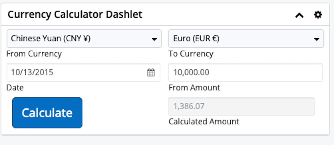 Currency Calculator Dashlet can convert any currency for any date