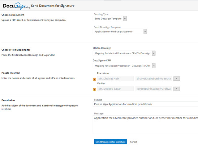 Sending the Docusign Template with field mappings