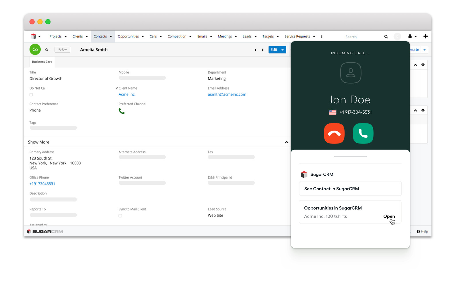 Access SugarCRM information from Aircall